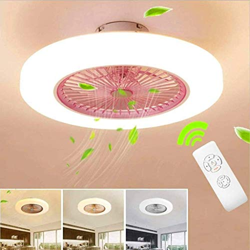 Ventiladores para el Techo con lámpara, Invisible Moderno Dormitorio Ajustable Regulable de la Sala de Control Remoto silenciosa del Sitio de niños de la Luz