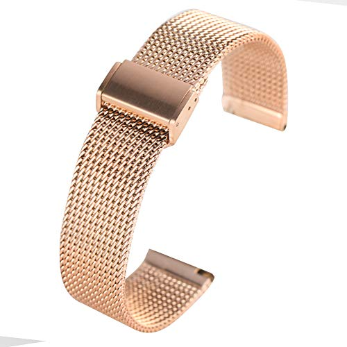 YISUYA - Cinturino sostitutivo per Samsung Galaxy Watch 2 da 42 mm Amazfit Bip Ticwatch2/I/O Smart Watch Stainless Steel Mesh with Strong Magnetic Bracelet Band for Women Men 20 mm