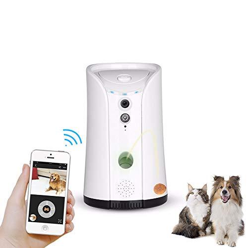 YUNDING Hund Camera Treat Dispenser WiFi Full Hd Haustierkamera mit Infrarot-LED-Nachtsicht Gerät Hundebehandlungsspender Zweiwege-Audio, für Hunde und Katzen