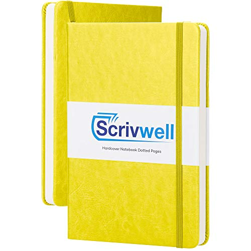 Scrivwell Dotted A5 Hardcover Notebook - 208 Dotted Pages with Elastic Band, Two Ribbon Page Markers, 120 GSM Paper, Pocket Folder - Great for Bullet journaling - Yellow