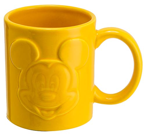 Joy Toy 62137 Mickey Mouse - Taza de desayuno (cerámica, 320 ml), color amarillo