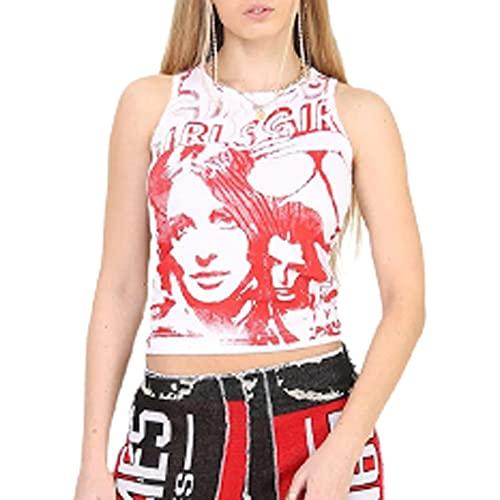 FASBB Y2K - Camiseta sin mangas para mujer, corte entallado, cuello redondo, camisola