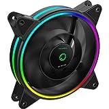 GameMax - Ventilador de refrigeración para PC (120 mm, arco iris, doble anillo,...