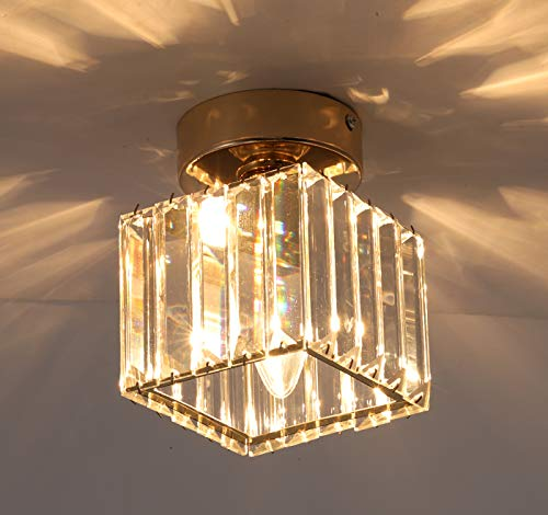 Jaycomey Flush Mount Ceiling Light Modern Semi Crystal Pendant Light Gold Glass Ceiling Lamp For Hallway Entryway Bedroom Square Buy Online In Mongolia At Mongolia Desertcart Com Productid 152939179
