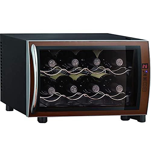 JLKDF Mini refrigerador refrigerador de Vino, refrigerador termoeléctrico para Bodega de Vino de encimera pequeña, 8 Botellas, para Dormitorio, Oficina, Cocina