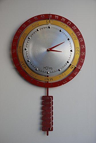 LUMONDE - Horloge Murale design Industriel en métal avec indication de la date Couleur Rouge/Jaune/Argent