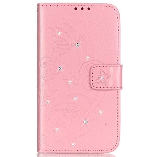 Surakey Cover Samsung Galaxy J1 2016 Pelle, Custodia Flip a Libro per Samsung Galaxy J1 2016 Glitter Strass Brillante Farfalla Portafoglio Magnetica Cover con Porta Carte e Funzione Stand,Rosa
