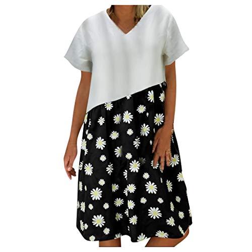 XOXSION Damen Streifen Dot Patchwork Kleid Casual Lose V-Ausschnitt Kurzarm Mode Kleid Gr. XXXXXL, C-schwarz