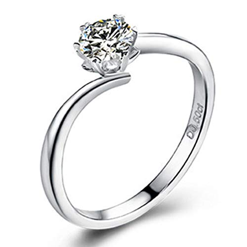 ButiRest Real Gold Women's Jewellery Promise Ring 18K White Gold Snowflake with 6 Bar Claw Setting White Moissanite Round Cut Colour Silver 0.5ct