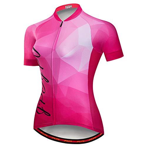 Damen Radtrikot Kurzarm Biking Shirts Fahrradbekleidung Fahrradjacke mit Taschen Atmungsaktiv - - L Brust (86/ 91 cm)