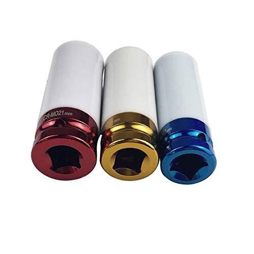 XIARUI Wrench 3pcs 17/19 / 21mm Casquillo Colorido de la Manga de protección de neumáticos Pared Deep Impact Tuerca del zócalo de Ruedas de aleación Tool Parts (Weight : 3Pcs)