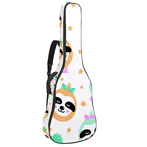 Baby Sloths Face Guitarras bolsa 40 41 42 pulgadas 2 bolsillos funda para guitarra impermeable Oxford tela 0.4 pulgadas extra gruesa esponja demasiado acolchada para guitarra acústica clásica