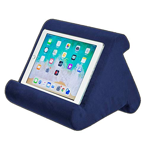 iPad Tablet Stand Pillow Holder - Multi-Angle Soft Tablet Pillow for Lap, Knee, Sofa and Bed - Universal Phone & iPad Stands for eReaders, Magazines, Kindle (blue)