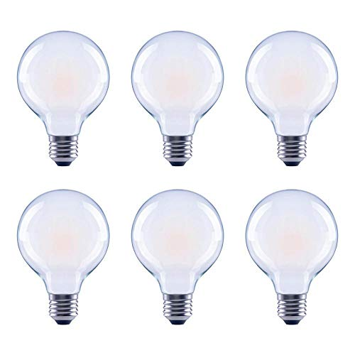 Asencia AN-03680 60 Watt Equivalent G25 Globe Frosted All Glass Vintage Filament Dimmable LED Light Bulb, Soft White, 6-Pack, 6 Pack