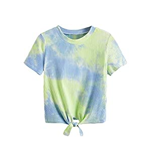 Women's Cute  Solid Ribbed Tee Crop Top T-Shirt