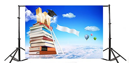Yeele 10x6.5ft Sky Backdrop Flying Hot Air Balloon Sea of Clouds Ladder Book Photography Background Baby Shower Child Birthday Party Adult Portrait Photo Shooting Vinyl Cloth Studio Props