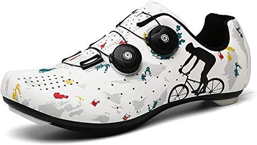 ququer Zapatillas de Ciclismo de Carretera Transpirables para Hombres y Mujeres,Deporte al Aire Libre Zapatillas de Bicicleta de Carretera de Carreras Profesionales con autobloqueo