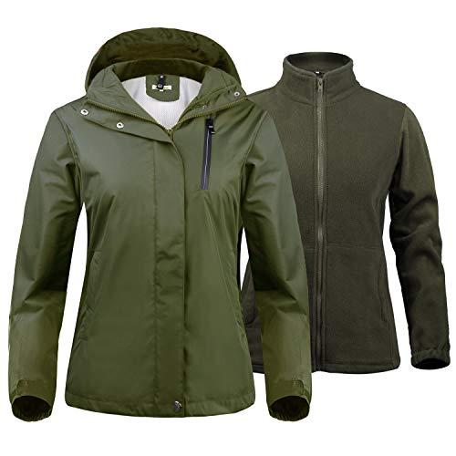 Abollria Mujer 2 en 1 Chaqueta para Lluvia Anti-Nieve con Capucha Desmontable + Chaqueta Interior Polar Cortavientos Abrigo Impermeable Invierno