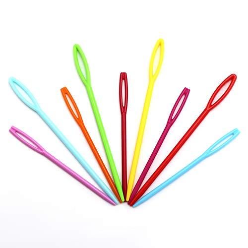 AIEX 100 Stück Kunststoff-Nähnadeln, Bunte Sicherheitsgarnschnürung Webnähnadeln für Kinder Bastelnadelprojekte (2 Größen)