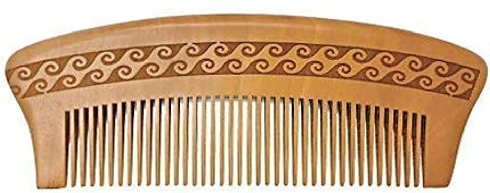 強制周り否定するBRIGHTFROM Wooden Hair Comb, Anti-Static, Detangling Wide Tooth Comb, Great for Hair, Curly Hair, Normal Hair, Beard, Mustache. Made from Natural Peach Wood [並行輸入品]