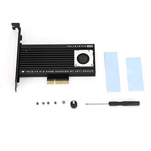 Goshyda Convertidor SSD, M.2 para NVME SSD Transferencia de Unidad de Estado sólido PCIE-3.0 x 4 Tarjeta de expansión con Ventilador para disipación de Calor