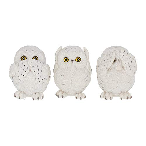 Nemesis Now Owls 8cm Figurine Three Wise Búhos 8 cm-Figura Decorativa, Blanco, Talla única