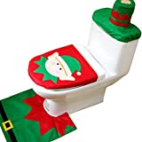 THEE 3pcs Toilet Set Decoración de Baño de Navidad Funda de Asiento y Alfombra y Caja de Tejido Caja de Regalo