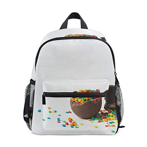 Zainetto per la scuola prescolare, colore cioccolato, uovo di Pasqua, asilo nido, leggero, adatto per bambini e bambine dai 3 agli 8 anni