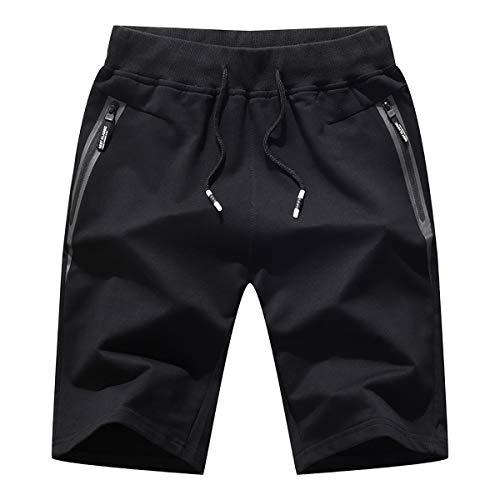 Pantalones cortos para hombre, estilo holgado, informal, deportivo, para fitness, gimnasio, verano - bolsillos con cremallera, Hombre, Negro 3, M