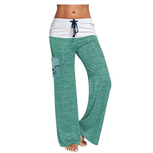 WGNNAA Damen Yoga Hose Freizeithose Sommerhose mit Weitem Bein Leichte Yogahose Patchwork Hippie Hose Lange Lose Elastische Taille Kordelzug Übergroße XS-4XL