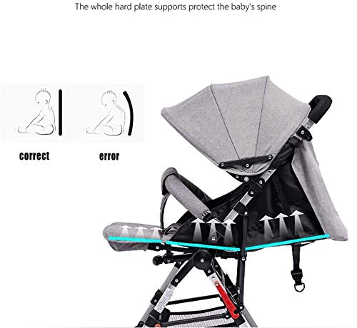 LAMTON High Landscape Easy Folding Baby Light Jogging Detachable Four Season Baby Stroller, Suitable for 0-36 Months Baby Can Withstand 55PL LAMTON This high-view stroller is made of linen and breathable. The frame is made of aerospace aluminum to make the body lighter, more stable and safer. The awning can be adjusted at any angle to cope with all kinds of weather. The awning is equipped with a back pocket for parents to store items they carry with them, such as mobile phones and car keys. The tires use EVA solid foam wheels to avoid problems with aeration and puncture. The rear wheels are equipped with brakes, front wheel suspension and 360° steering for a variety of roads. 4