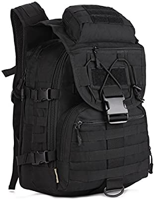 ArcEnCiel Tactical Backpack Military Army 3 Day Assault Pack Molle Bag Backpacks Rucksacks for Outdoor Hiking Camping Trekking Hunting - Rain Cover Included (Black)