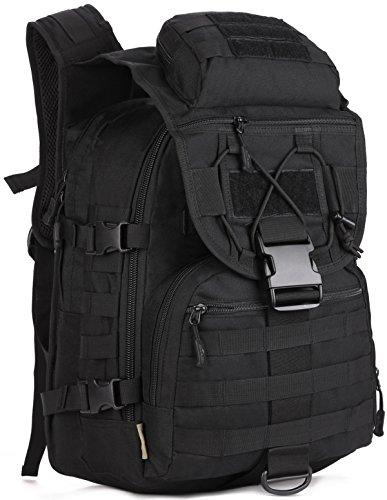 DCCN 40L Militär Rucksack Wanderrucksack Tactical Rucksack mit Regenhülle (Schwarz)