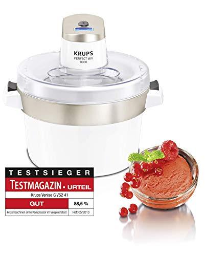Krups GVS241 Eismaschine Venice Perfect Mix; 1L hausgemachtes Eis, Sorbet, Frozen Jogurth; Ohne Kompressor; Inklusive Rezeptheft und Silikonlöffel; Digitalanzeige und Signalton