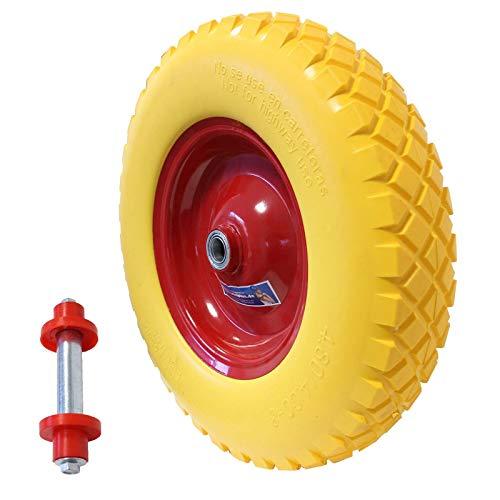 Schubkarrenrad Vollgummi PU Pannensicher 4.80/4.00-8 Ø 400mm mit Achse 200kg Traglast Ersatzrad Reifen Schiebkarrenrad Stahlfelge