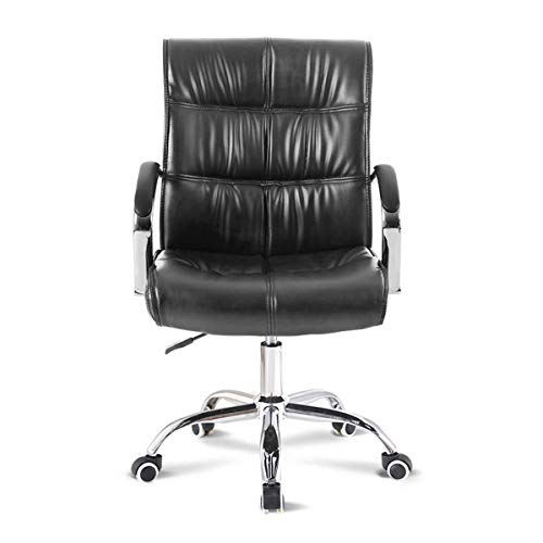 Desk Chair,Executive Office Chair High Back pc Chair Faux Leather Extra Padded Swivel Computer Desk Chair,Home Office Furniture (Color : Black)