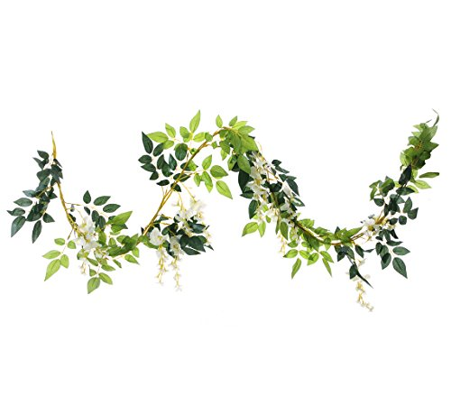 UUPP 2Pcs 6.6Ft Artificial Flowers Silk Wisteria Garland Fake Hanging Green Leaf Flower Ivy Vines for Home Garden Wedding Arch Decor, White