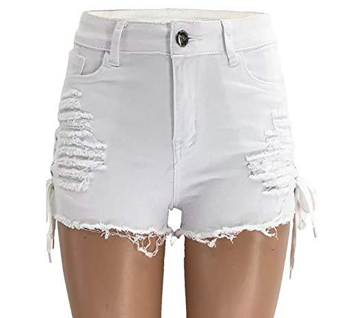Pantalones Cortos De Mezclilla ROPPED ROPPED Median Median Media CUMPLADOR DE LA Taza DE LA Taza EN Ambos Lados,Blanco,S