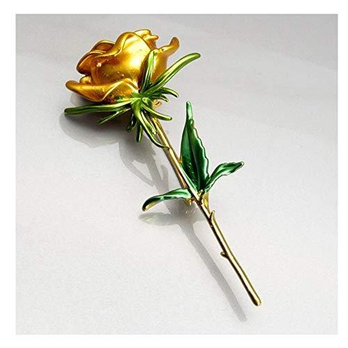 Broches clásicos de flor de rosa esmaltados para mujer, aleación de 4 colores, flor de rosa, bodas, broches informales de oficina, regalos, amarillo
