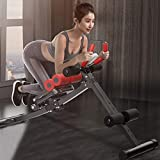 OKBOP Core & Abdominal Trainers, Home Gym Folding Twister Trainer Ab Exercise Machine Equipment, Adjustable Incline Ab Rocket Workout Exerciser for Sit-up Fitness, LCD Monitor Bicycle Pedal (Black)