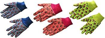 3-Pairs G & F 1823-3 JustForKids Soft Jersey Kids Garden Gloves