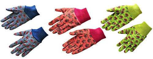 G & F Products 1823-3 JustForKids Soft Jersey Kids Garden Gloves, Kids Work Gloves, 3 Pairs Green/Red/Blue per Pack