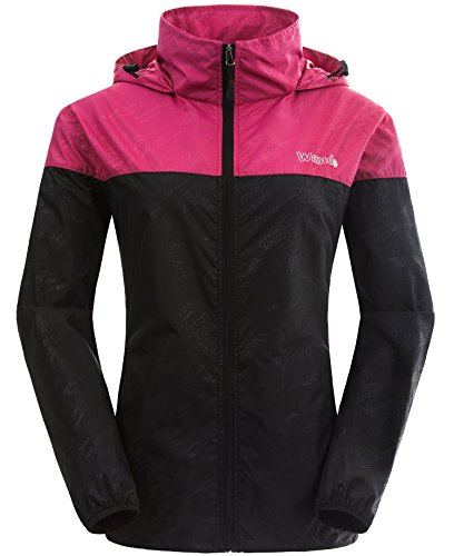 Wantdo Women's Packable UV Protect Quick Dry Outdoor Windproof Lightweight Skin Jacket Rose Red Black US M