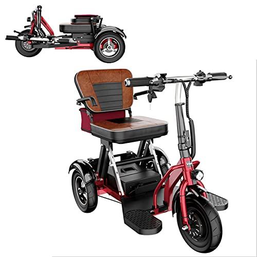 EWYI 3 Ruedas Scooter De Movilidad Plegable Coche Eléctrico para Discapacitados con 3 Cambios De Marcha, Triciclo Eléctrico Ligero para Adultos Mayores Discapacitados 10AH/35KM
