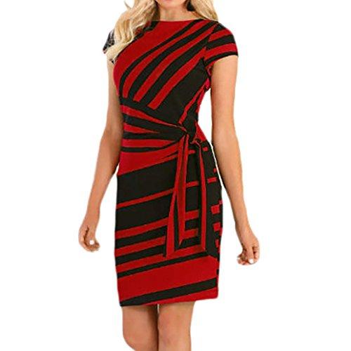 Overdose Vestidos De Trabajo De Las Mujeres LáPiz Raya Recta Vestido De Fiesta Corto O-Cuello Casual Mini Vestidos (M, Rojo)