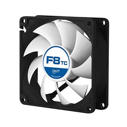 ARCTIC F8 TC – 80 mm Lüfter optimiert für statischen Druck mit Temperaturkontrolle, Gehäuselüfter, Computer, PC, 500-2000 RPM – Schwarz