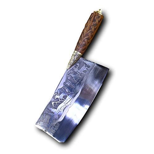 Couteau de cuisine Forgé couteau chef chinois lame couperet figuré fixé à la main couteau à viande Coupe-légumes Accessoires de cuisine outils