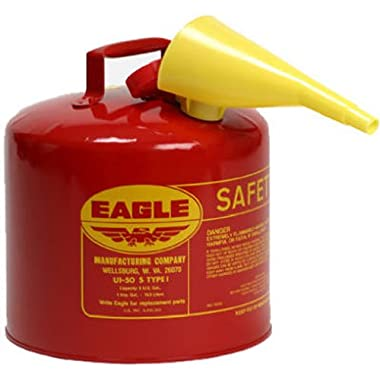 Eagle UI-50-FS Red Galvanized Steel Type I Gasoline Safety Can with Funnel, 5 gallon Capacity, 13.5  Height, 12.5  Diameter