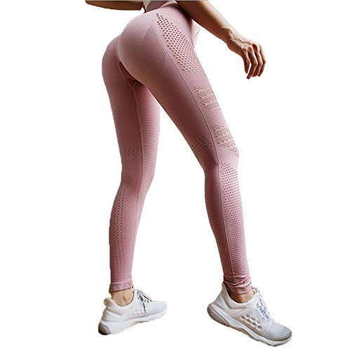 HPPL Naadloze Tummy Control Yogabroek Elastische Compressie Panty Hoge Taille Sportbroek Push Up Running Dames Gym Fitness Leggings, Pink2, M