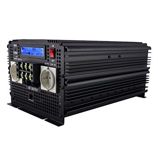 SHIJING LCD-Anzeige USV Wechselrichter Reine Sinuswelle 3500W 7000W (Spitze) 12V bis 220V Wechselrichter + Ladegerät & USV, Leise und Schnellladestromversorgung